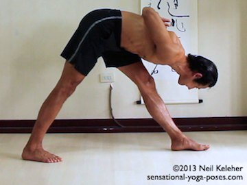 parsvottanasana, reverse prayer forward fold, shoulder stretch for fronts of shoulders, hamstring stretch