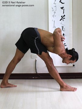 Parsvottansana with hands in prayer behind the back. Both knees are straight in this pose. To get more weight on the back foot push the pelvis rearwards. Reach ribs away from pelvis and pull head way from ribcage. Move shoulders and elbows towards the rear of the body so that you open up the front of the upper body. Sensational Yoga Poses, Yoga Notes, Neil Keleher.