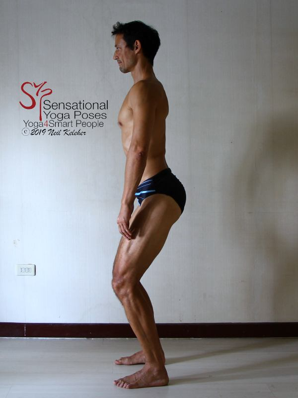 Standing posture fixing exercises 1. Pelvis tilted forwards.  Neil Keleher, sensational yoga poses