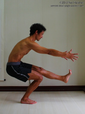 pistol squat halfway up, yoga for strength