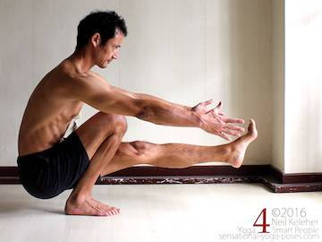 Pistol squat, to may tensor fascia latae activation easier for the lifted leg, engage vastus lateralis Neil Keleher. Sensational Yoga Poses.