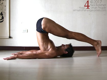 Plough pose, a forward bend for the neck, upper thoracic spine and hips. Neil Keleher. Sensational Yoga Poses.