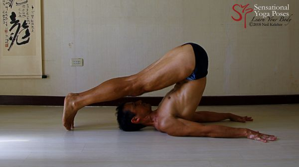Doing plow pose with hands unclasped, you can use your rhomboids to pull your shoulder blades towards each other (scapular retraction).  Neil Keleher. Sensational Yoga Poses.