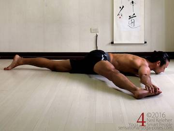 Prone Yoga Poses, inner thigh stretch, Neil Keleher, Sensational Yoga Poses