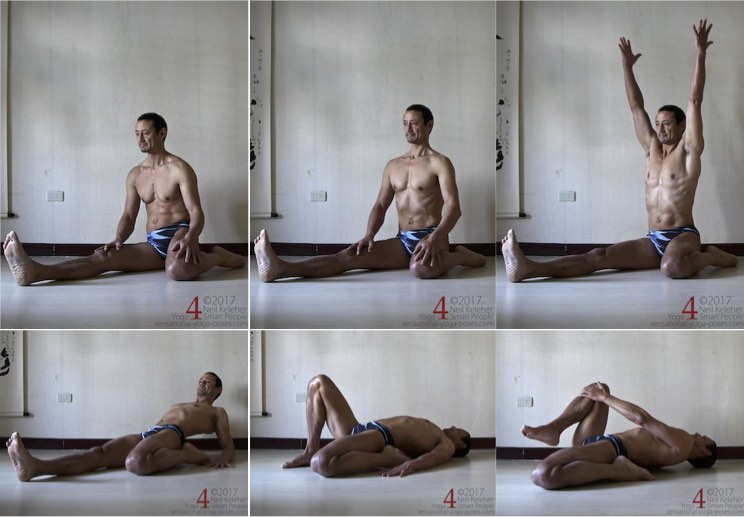 Working towards a lying quadriceps stretch, one leg at a time. Neil Keleher. Sensational Yoga Poses.