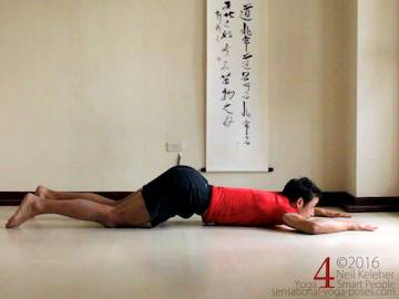 Prone Yoga Poses, puppy dog chest stretch 2, Neil Keleher, Sensational Yoga Poses