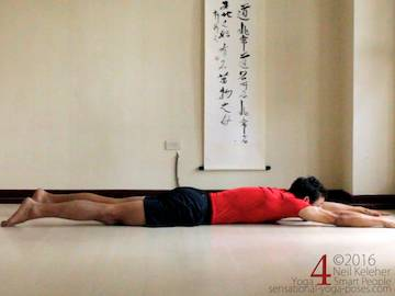 Prone Yoga Poses, puppy dog chest stretch 1, Neil Keleher, Sensational Yoga Poses