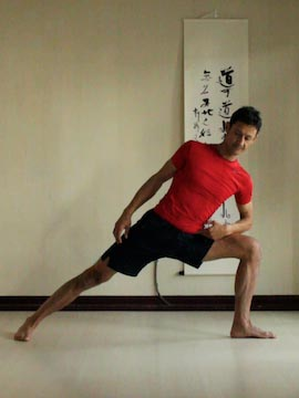side angle pose (utthitta parsvakonasana) with forearm on thigh.