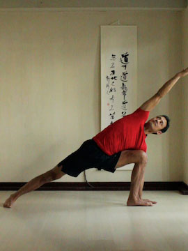 side angle pose (utthitta parsvakonasana) with palm of hand on floor.
