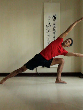 side angle pose (utthitta parsvakonasana) with both arms reaching to the side.