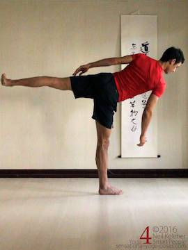 balancing in half moon with hand lifted, neil keleher, sensational yoga poses
