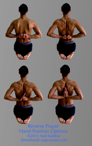 reverse prayer, prayer behind the back, parsvottanasana, yoga poses, yoga asana, yoga pose arm positions