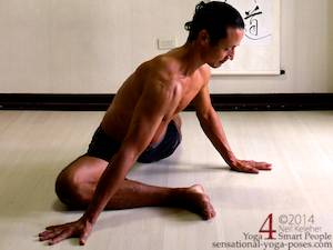 Pigeon pose foot press (blade of foot). Preparation for side plank. Neil Keleher. Sensational Yoga Poses.