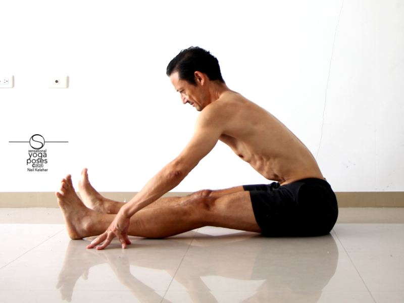 relaxed seated forward bend yoga position, yoga pose, seated hamstring stretch spine long, arms reaching forwards