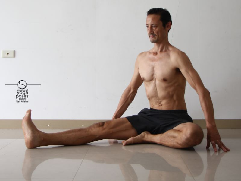 janu sirsasana a, yoga pose, seated hamstring stretch, sitting upright relaxed
