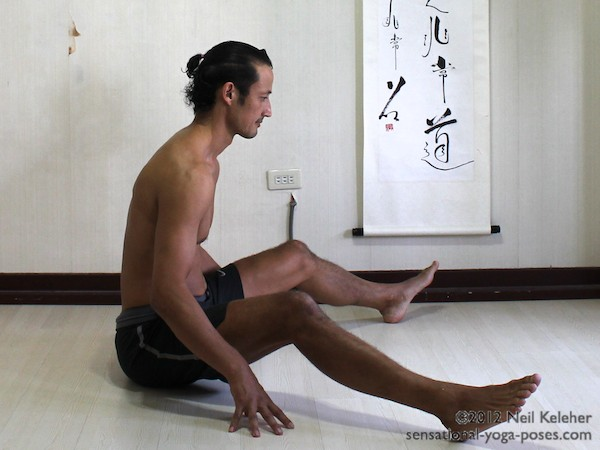 upavistha konasana, seated wide leg forward bend, knees bent, yoga pose preparation