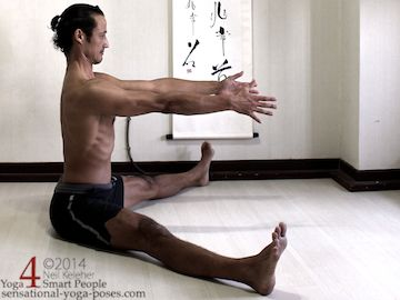 upavistha konasana, seated wide leg forward bend, knees straight, yoga pose preparation, sitting upright