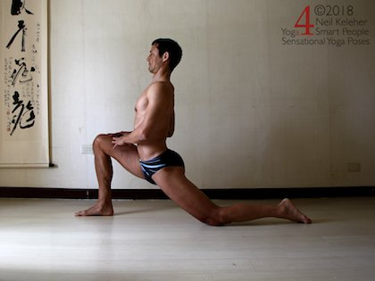 Back bending yoga poses: Upright lunge with back knee on floor. Glute and hamstring of back leg active. Neil Keleher. Sensational Yoga Poses.