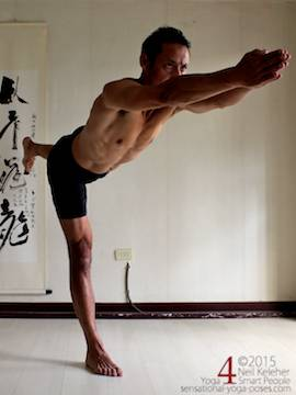 Sensational Yoga Poses, Model Neil Keleher. balancing on one leg in warrior 3