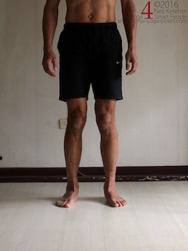 Shins rotated inwards relative to the feet, (tibialis posterior relaxed). Neil Keleher. Sensational Yoga Poses.