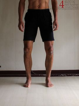 Shins rotated outwards relative to the feet, (tibialis posterior active). Neil Keleher. Sensational Yoga Poses.