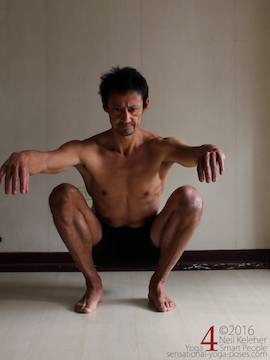 Learning to do deep squats (without weight), shins rolled outwards knees apart, Neil Keleher, sensational yoga poses.