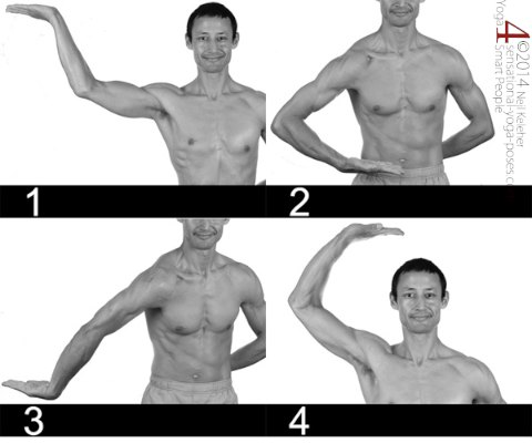 the four basic horizontal positions of the dance of shiva (using one arm only). Neil Keleher, Sensational Yoga Poses.