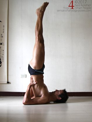 Shoulderstand, a forward bend for the neck and upper thoracic spine. Neil Keleher. Sensational Yoga Poses.