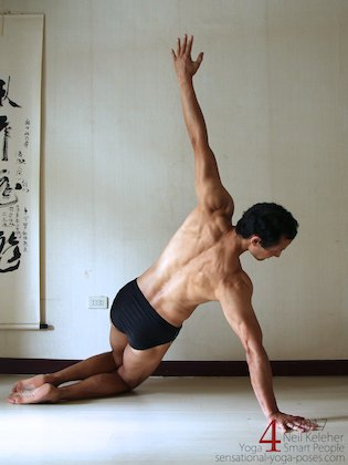 Side plank on knees with hips lifted. Neil Keleher. Sensational Yoga Poses.