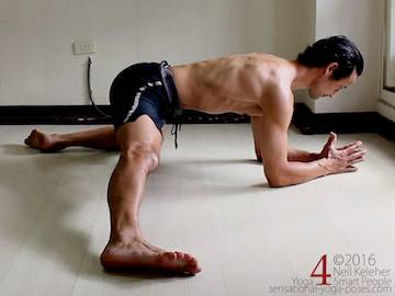 half side split, inner thigh stretch with elbows on the floor