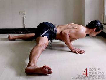 half side split, inner thigh stretch with chest on the floor
