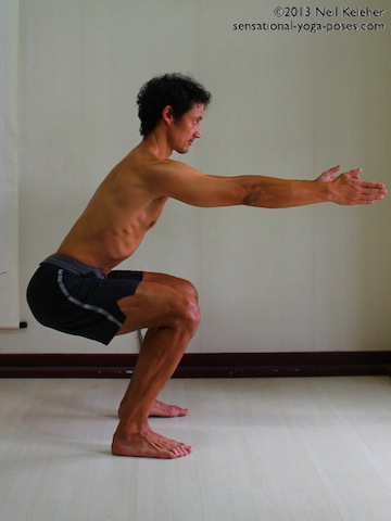 half squat position, yoga for strength