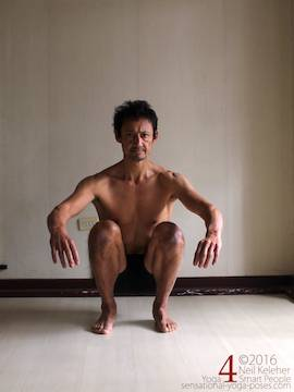 Learning to do deep squats (without weight), feet parallel, Neil Keleher, sensational yoga poses.