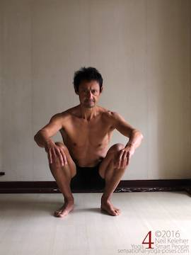 Learning to do deep squats (without weight), feet slightly turned out , Neil Keleher, sensational yoga poses.
