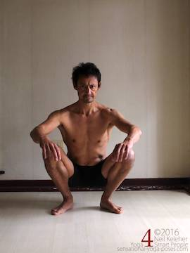 Learning to do deep squats (without weight), feet turned out, Neil Keleher, sensational yoga poses.