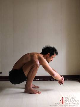 Learning to do deep squats (without weight), spine bent forwards so that chest leans forwards between knees, Neil Keleher, sensational yoga poses.