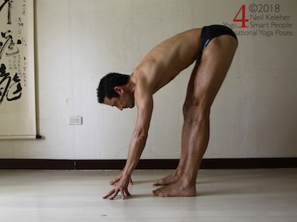 standing forward bend with weight back over legs, hands lightly touching the floor. Neil Keleher. Sensational Yoga Poses.
