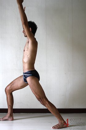 standing psoas stretch. Neil Keleher. Sensational Yoga Poses.