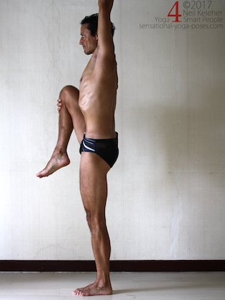 Standing knee lift, a forward bend for the lifted knee hip. Neil Keleher. Sensational Yoga Poses.