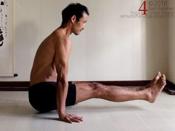 L-Sit lift up, to may tensor fascia latae activation easier, engage vastus lateralis Neil Keleher. Sensational Yoga Poses.