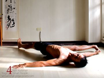 Supine Yoga poses: supine hamstring stretch with leg to the side. neil keleher, sensational yoga poses.
