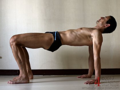 Table top, belly up on all fours with hips lifted. Arms are straight, knees are bent. Hands are under shoulders with fingers forwards. Feet are under the knees. Neil Keleher. Sensational Yoga Poses.
