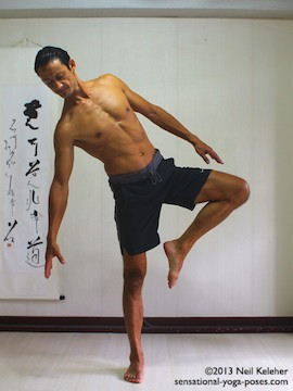 Sensational Yoga Poses, Model Neil Keleher. balancing on one leg while preparign to enter tree pose by bending to the standing leg side