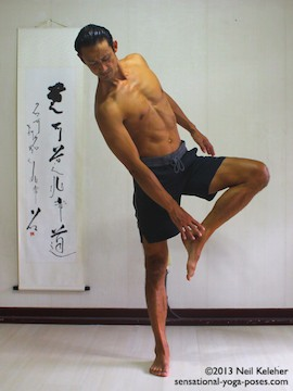 Sensational Yoga Poses, Model Neil Keleher. balancing on one leg while moving into tree pose by bending towards the side and grabbing the lifted foot with the opposite hand