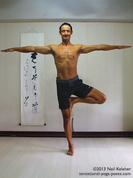Sensational Yoga Poses, Model Neil Keleher. balancing on one leg in tree pose with arms out to the side