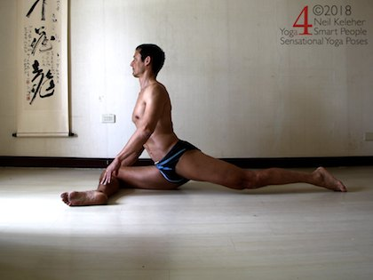 Back bending yoga poses: Upright pigeon pose variation with spinal erectors activated to bend spine backwards and back leg glutes and hamstrings activated to bend hip backwards. Front leg hip is resting on the floor with shin parallel to front of imaginary mat. Neil Keleher. Sensational Yoga poses.