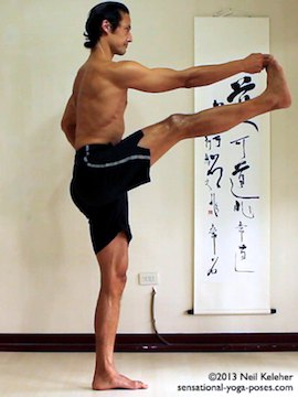 Sensational Yoga Poses, Model Neil Keleher. balancing on one leg in utthitta hasta padangusthasana with leg to the front while holding onto big toe.