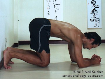 inverted yoga pose, headstand prep using wall