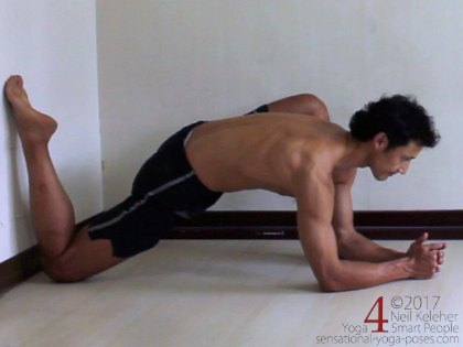 lunging hip stretch with shin against wall, low lunge variation elbows on floor, low lunge with shin against wall