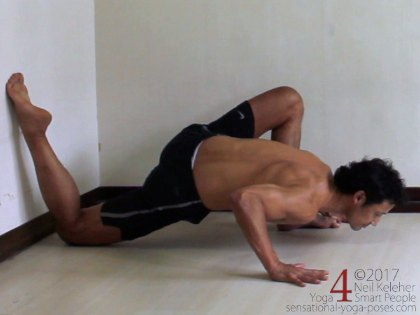 lunging hip stretch with shin against wall, low lunge, low lunge with elbows bent, low lunge push up, low lunge with back sin against wall